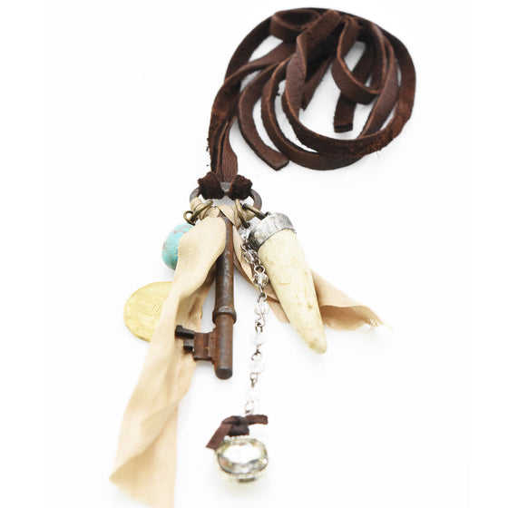 Leather Key Collage Necklace
