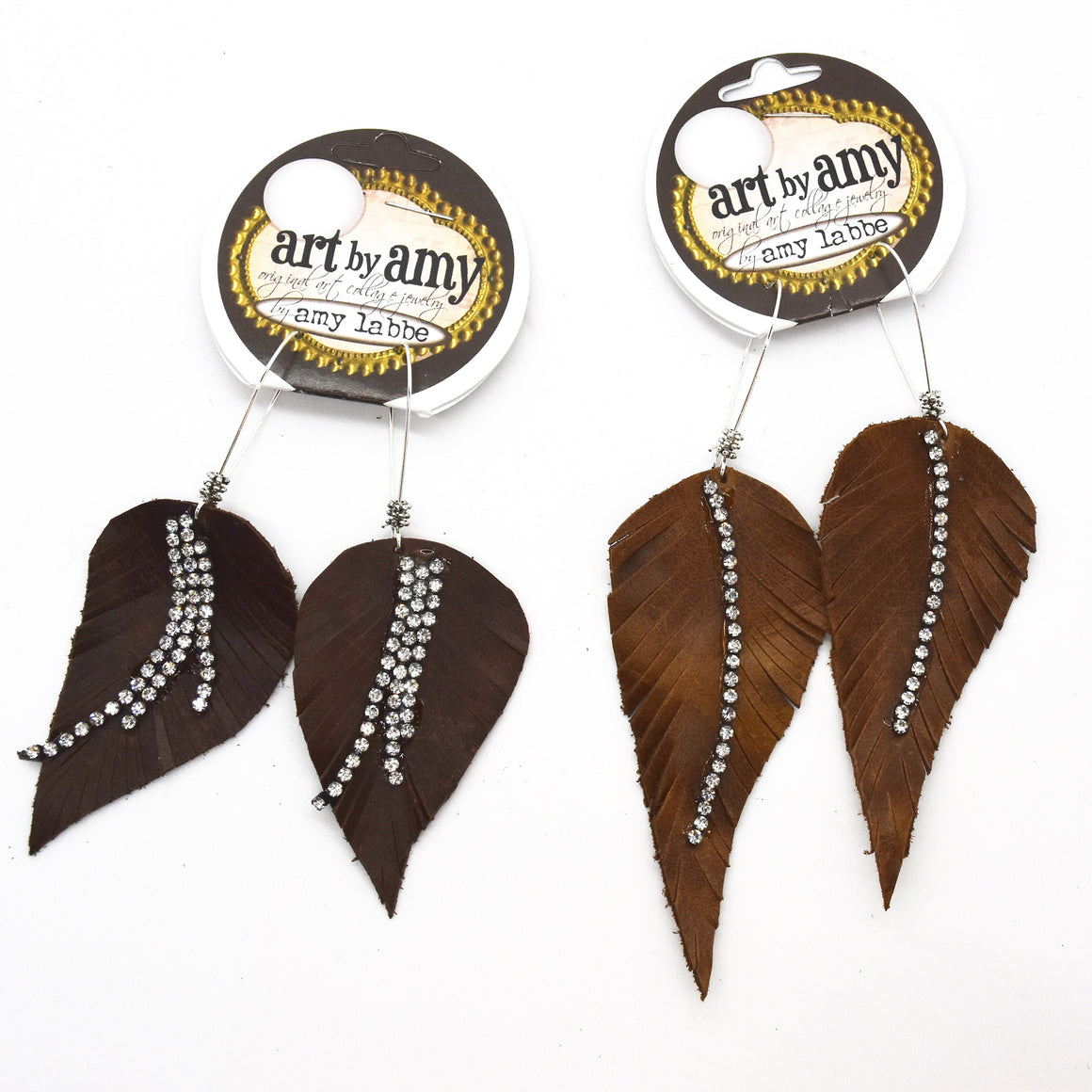 Leather and Rhinestone Feather Earring