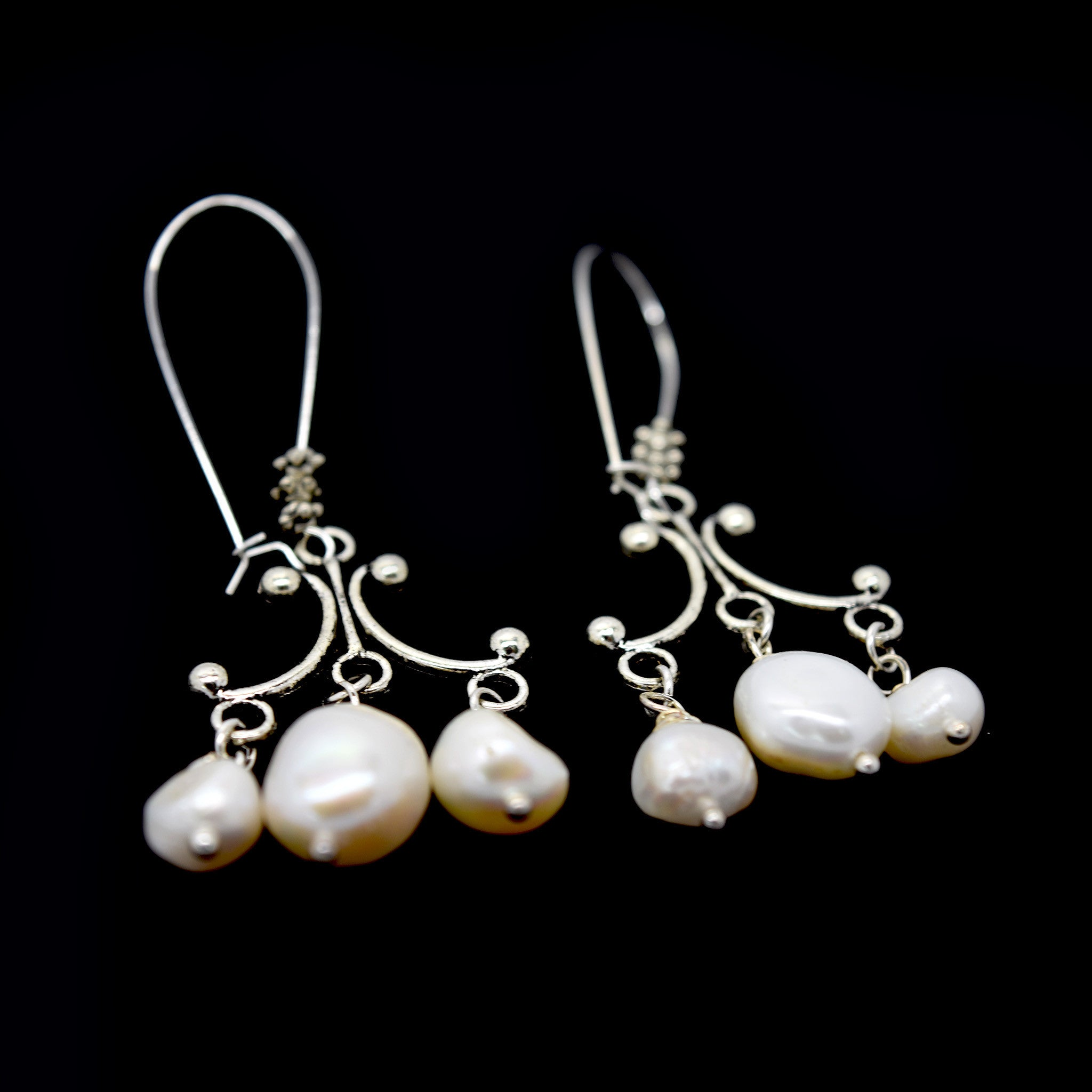 Triple pearl chandelier earring art by amy labbe triple pearl chandelier earring aloadofball Image collections
