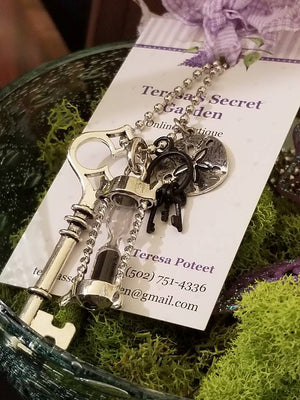 Infinity Open Heart Skeleton Key/Hourglass/Tiny Keys/Sand Dollar Charms /36 Inch Chain Necklace