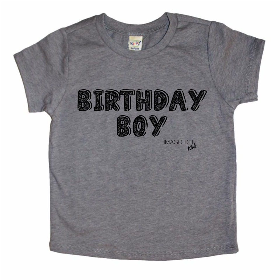 Birthday Boy- Grey tee