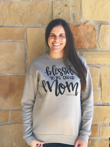 Blessed to be called Mom-Heather Stone Fleece pullover