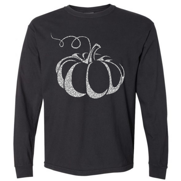 Silver Shimmer Pumpkin- Black Long sleeve tee