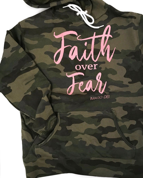 Faith Over Fear -Camo Fleece Sweatshirt