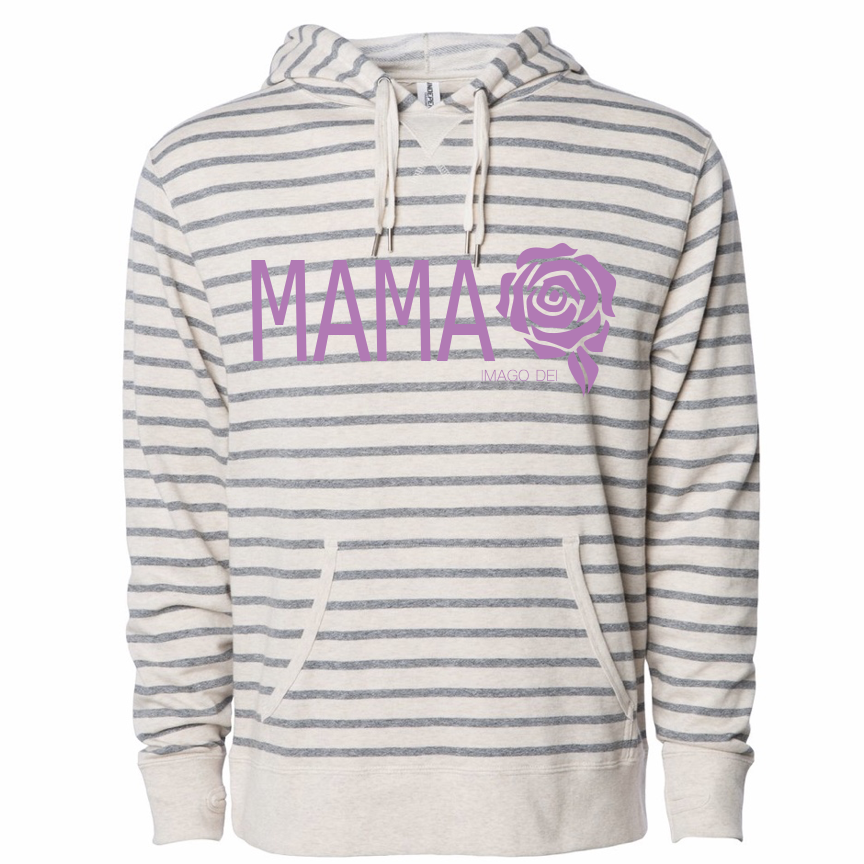 Mama-Striped French Terry Sweatshirt