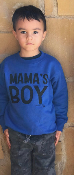 Mama's Boy- cobalt blue fleece pullover