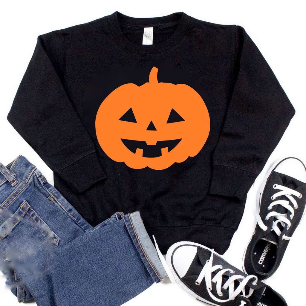 Halloween Pumpkin- Black Sweatshirt
