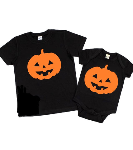 Halloween Pumpkin - Black Onesie