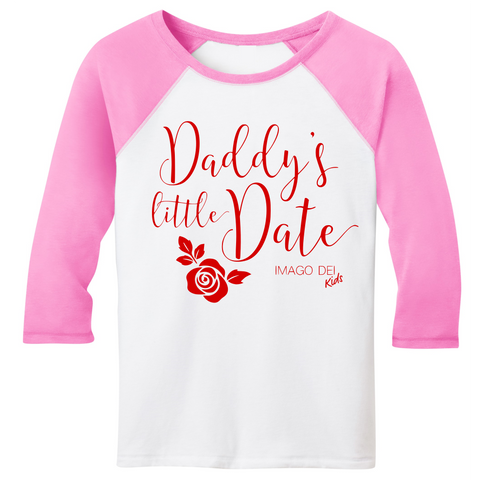 Daddy's Little Date-Pink Raglan