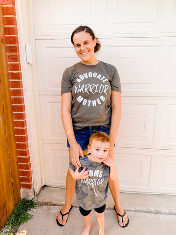 Advocate, Warrior, Mother - Adult Army Green Tee