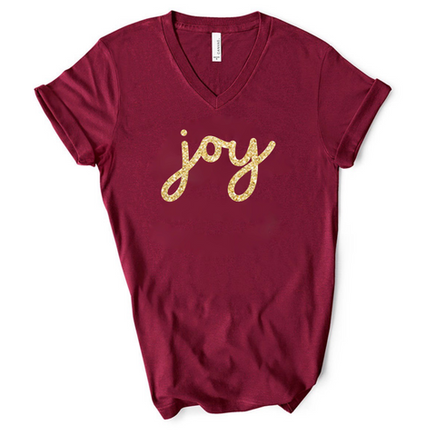 Joy- Maroon v-neck Tee