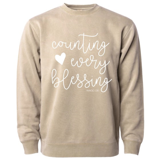Counting Every Blessing -Sandstone Fleece Sweatshirt