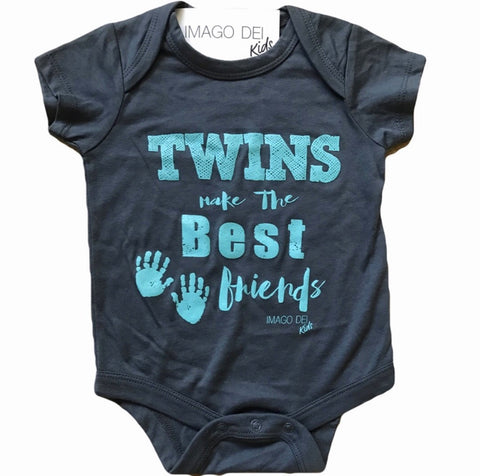 Twins Make The Best Friends-Aqua Print Grey Onesie