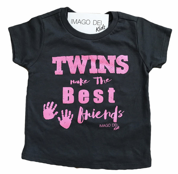 Twins Make The Best Friends-Pink Print Grey Tee