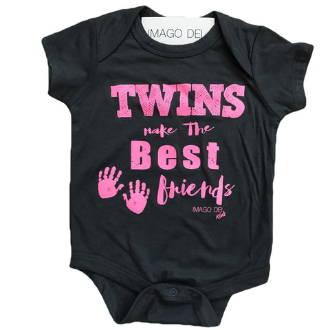 Twins Make The Best Friends-Pink Print Grey Onesie