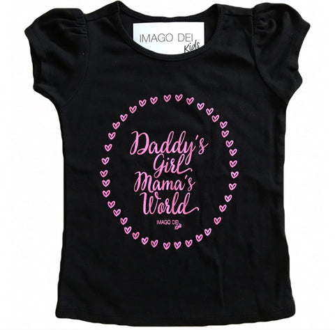 Daddy's Girl Mama's World-Black Puff Tee