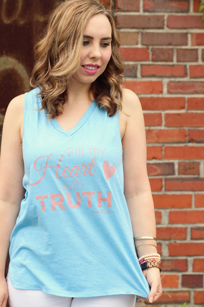 Fill My Heart With Truth-Blue Tank Top