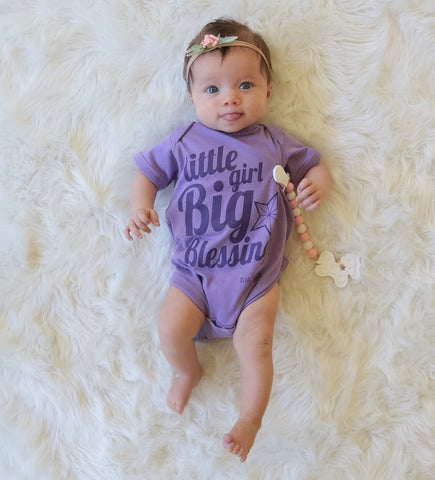 Little Girl Big Blessing-Lavender Onesie