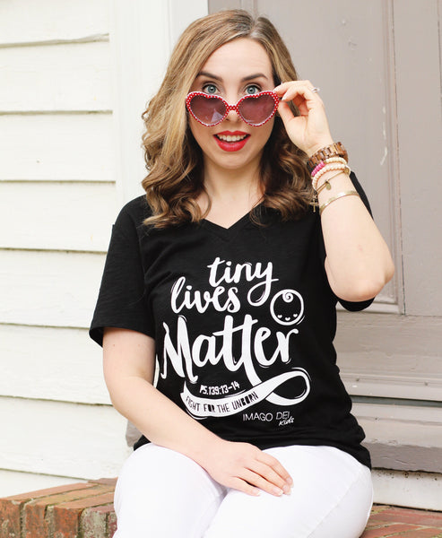 Tiny Lives Matter - women v-neck  Black Tee
