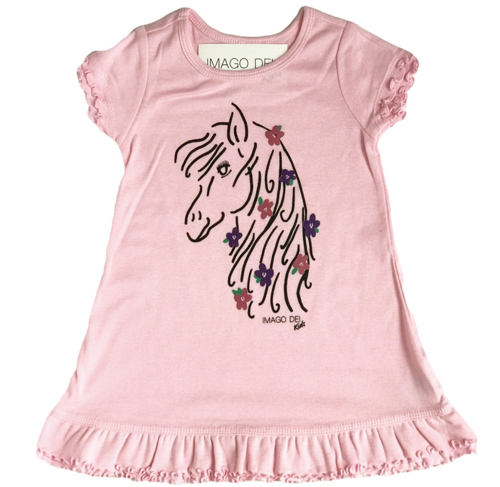 Horse- Pink Ruffle Dress
