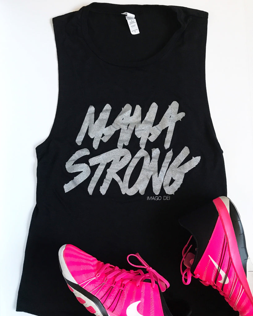 Mama Strong- Black Muscle Tank Top