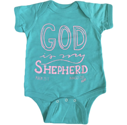 God Is My Shepherd- Caribbean Blue Onesie