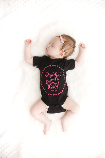 Daddy's Girl Mama's World-Black Onesie