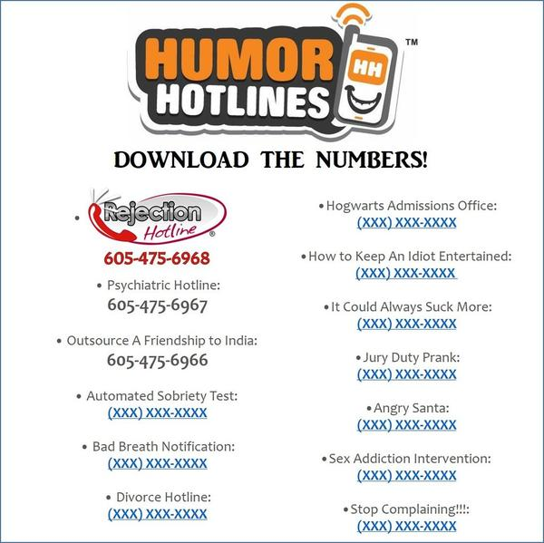 HumorHotlines - Some are free; some are a tiny little fee (of less than a dollar each!)