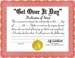 Get Over It Day Pledge/Certificate