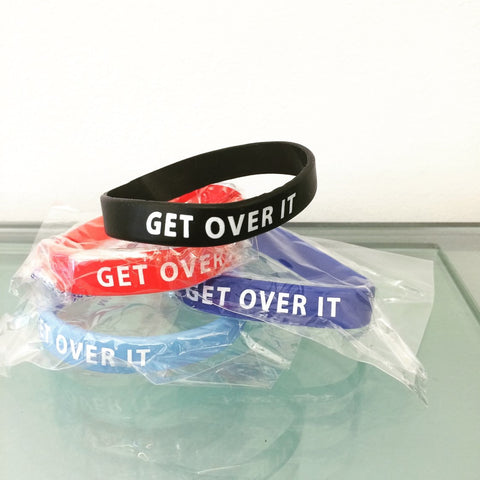 """GET OVER IT!"" Wristbands (Note: Best value in packs/bundles - of 5, 10, or 25!)"