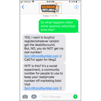 SorryWrongNumber.com - Shared Number?!?