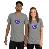 Interstate 69 (I-69) Super-Soft TRI-BLEND t-shirt