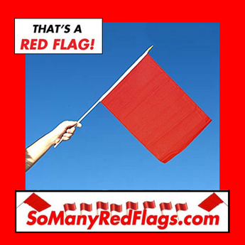 RED FLAG (medium) - 12in x 18in Flag / 24 inch stick - SoManyRedFlags.com