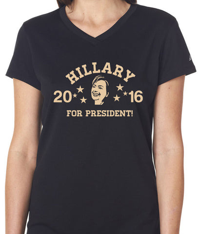 Hillary For President Womens V Neck T-shirt - 6044