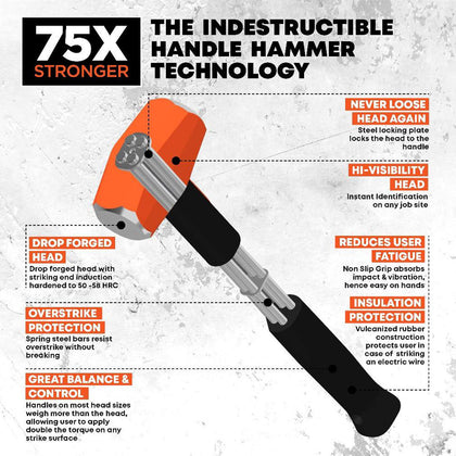 Club Hammer, Indestructible Handle, 16