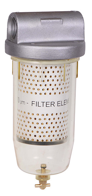 Fuel Filter with 10 micron filter element to remove water, 1