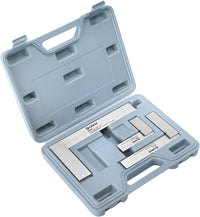 "Steel Square Set GROZ 3-Piece Machinist Steel Square Set 16 Micron Squareness| 2"", 4"" &  6"" Blade Lengths With Plastic Carrying Case"