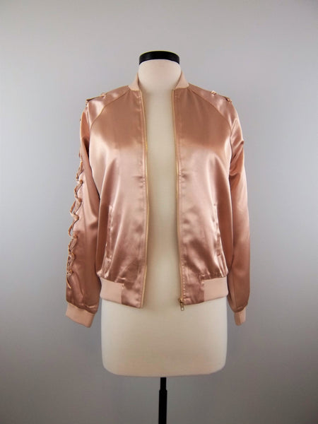 Waiting On This Moment Satin Bomber Jacket - Mix & Mingle Boutique