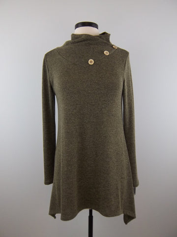 Olive Long-sleeve Cowl Neck Tunic