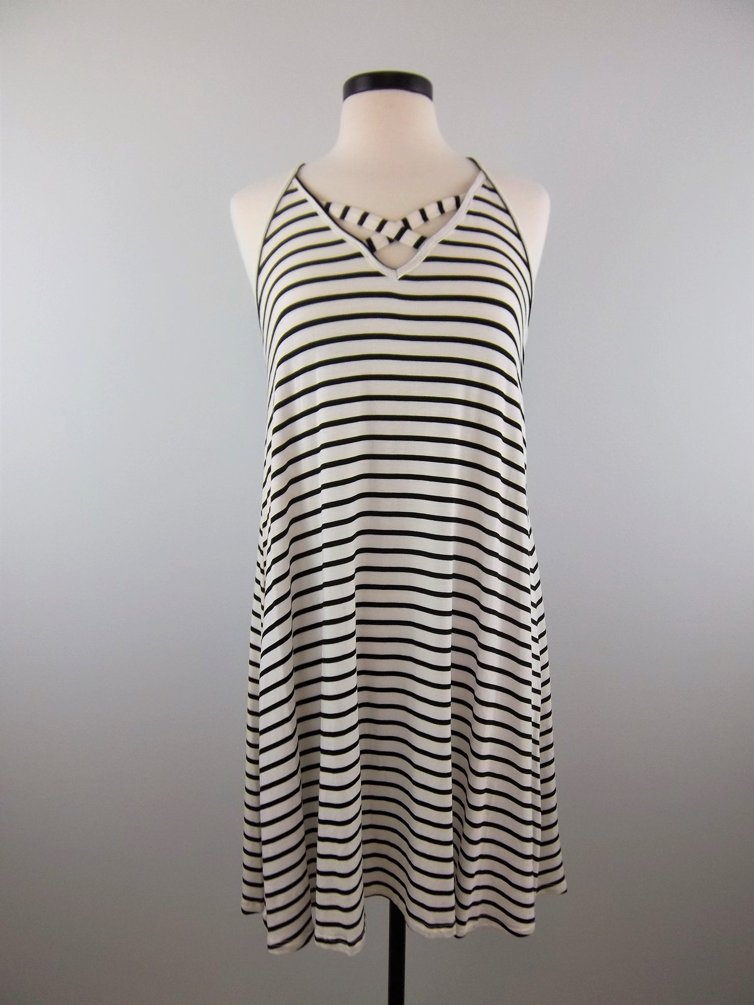 Criss Me Cross Me Striped Dress - Mix & Mingle Boutique