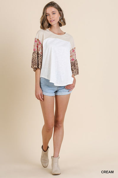 Floral Bell Sleeve Round Neck Short Sleeve Top