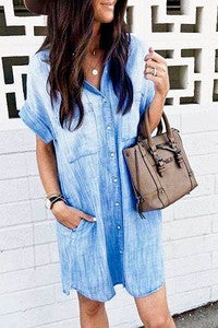Short sleeve front button down denim shirt dress