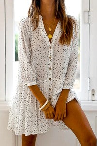 3/4 sleeve polka dotted button down tiered shirt dress