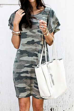 Layered ruffle sleeve loose fit Camo dress