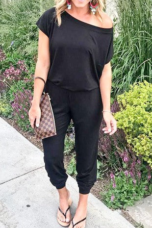 Black short sleeve off the shoulder loose fit casual jumpsuit