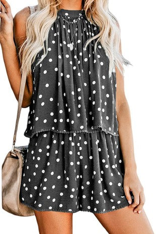 Sleeveless polka dot with lace trim loose fit romper