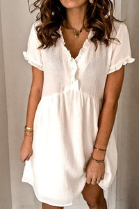 Ruffle detail short sleeve button up baby doll dress