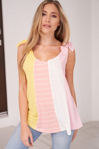 Sleeveless color block knit top featuring bow ties that holds up the sleeves