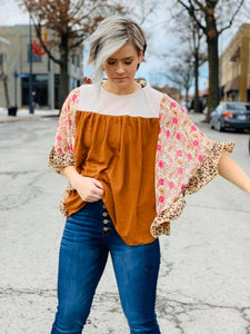 Waffle Knit Top with Print Bell Sleeve - Mix & Mingle Boutique