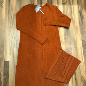 Rust Long-body Cardigan - Mix & Mingle Boutique